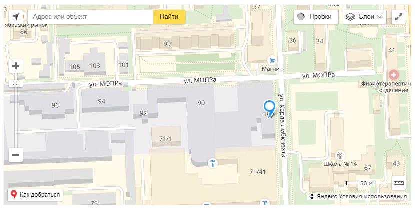 Адреса на карте на сайте